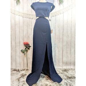 LULUS BE STILL MY HEART BLUE BACKLESS MAXI DRESS